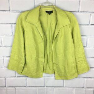 Talbots Irish linen blazer medium petite green